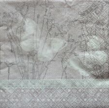 4 x Single Paper Napkins Lace Flowers Butterfly Decoupage and Crafting 31