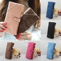 EG_ HK- Women Vintage PU Leather Bifold Wallet Button Clutch Purse Long Handbag