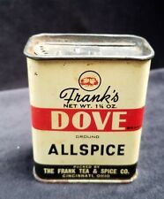 Old Advertising Tin Frank's DOVE Ground Allspice Frank Tea & Spice Cincinnati OH