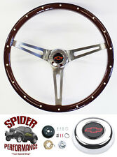 "1967 Corvette steering wheel Red Bowtie 15"" Muscle Car Mahogany"