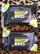 2x MISFIT WAKE UP FACIAL CLEANSING REFRESHING WIPES Cucumber Caffeine x50 Wipes