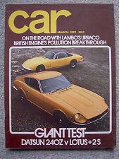 Car (March 1972) Datsun 240Z v Lotus +2S 130, Urraco, Corvette,VW K70, Renault 5