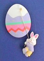 Hallmark PIN Easter Vintage BUNNY RABBIT EGG Swinging Holiday Brooch