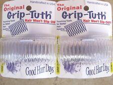 "2 Sets of 2 Clear Grip Tuth Hair combs (4 combs) 3 1/4"" Good Hair Days USA #417"
