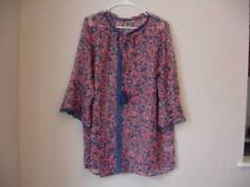 JESSICA LONDON PLUS SIZE 20W BLUE FLORAL SHEER TUNIC TOP WITH BELL SLEEVES NIP