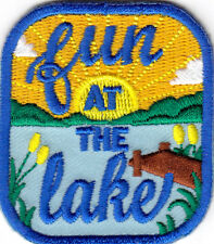 """FUN AT THE LAKE"" - OUTDOORS - SWIMMING - FISHING -  Iron On Embroidered Patch"