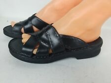 WOMEN'S CLARK'S COMFORT SLIP-ON BLACK LEATHER SANDALS WORK SHOES SZ 7M
