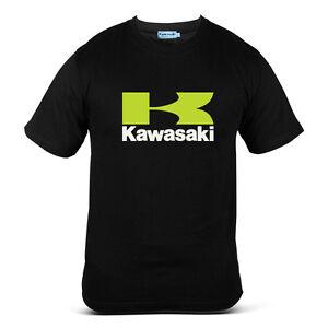 Genuine Official Kawasaki Logo Ninja Motocross Bike SBK Black Men Tee T-Shirt