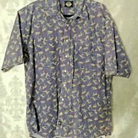 Dockers Mens Blue Multi Color Short Sleeve Button Down Hawaiian Shirt Size Large