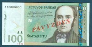 Lithuania Specimen Pick 50as 100 Simtas Litu 1991-1993