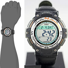 Casio SGW-100B-3V Watch COMPASS Thermometer Cloth Band Twin Sensor Green New