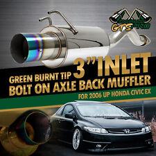 "DIRECT FIT BOLT-ON 06 UP HONDA 2/4D CIVIC STAINLESS STEEL MUFFLER 4"" GREEN TIP"