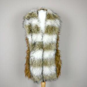 Womens RIVER ISLAND Faux fur Gilet Vest Size UK 10 Fluffy Sleeveless Jacket Coat