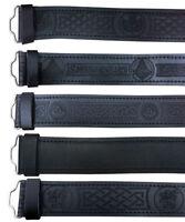 CC Scottish Black Leather Belt Brown Masonic, Plain Kilt Belts without Buckle