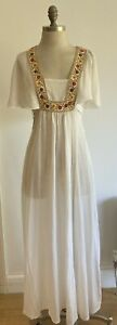 """Rare 1970s """"Mr Darren"""" Cheesecloth Vintage Dress with Braid, Vintage Size 16 UK"""