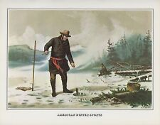 "1978 Vintage ""TROUT FISHING NEW YORK ADIRONDACKS CURRIER & IVES COLOR Lithograph"