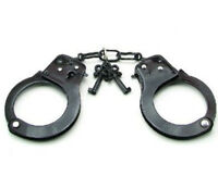 Black STEEL HAND Handcuffs CUFFS Double Locking Real Hand Police Toy Cuff Key