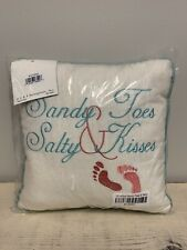 Sandy Toes & Salty Kisses 10 Inches Coastal Square Throw Pillow