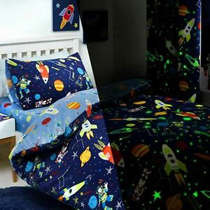 Blue Duvet Covers Glow in the Dark Space Rockets Kids Quilt Cover Bedding Sets