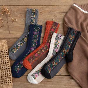 Women Girl Vintage Retro Fall Winter Ethnic Mid Calf Flower Cotton Socks C2UK