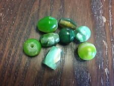 Vintage Sample Card Trade Mixed Green Chunky Unique Old Plastic Bead Lot