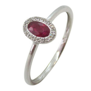 9ct White Gold 0.25ct Oval Ruby and  Diamond Halo Dress Ring