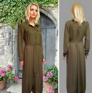 PORTOBELLO DRESS SIZE 14 OLIVE GREEN LONG SHIRT STYLE LONG SLEEVE BELTED #36