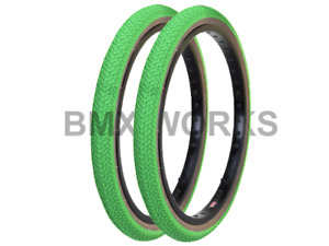 """Kenda K55 Freestyle Green & Skinwall Sides BMX Tyres 20"""" x 1.75"""" Sold In Pairs"""