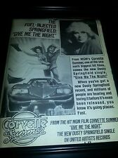 Corvette Summer Dusty Springfield Give Me The Night Rare Promo Poster Ad Framed!