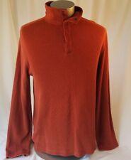 Banana Republic Men's XL Funnel Snap Neck Pullover Sweater 100% Cotton Orange
