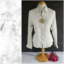 Blue Willi's Long Sleeve Zip Up Blouse White Size Medium NWT