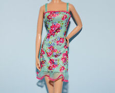Sea Foam Blue Green w/ Pink Flowers Party Dress Genuine BARBIE Fashion Clothes