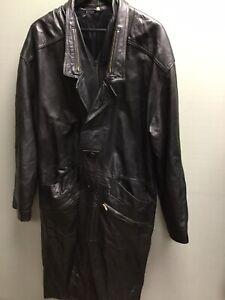 Men's Vintage Black Leather Trench Coat Overcoat UK Large Gothic Matrix