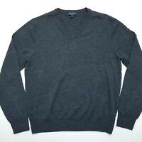 Brooks Brothers Vneck Sweater - Saxxon Wool - Gray - Men's Medium