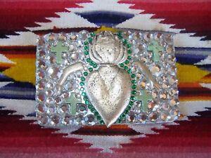 Day Of The Dead~OOAK~Western Milagro Flaming Sacred Heart Rhinestone Belt Buckle