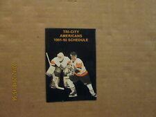 WHL Tri-City Americans Vintage Circa 1991-92 Logo Hockey Pocket Schedule