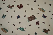 "Picnic Butterflies Bugs more Tan background Denim Fabric 54"" x 45"""