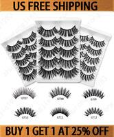 5 Pairs Real 3D Mink Makeup Cross False Eyelashes Eye Lashes Handmade Fluffy