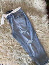Maurices Womens Capri's Crop Denim Blue Jeans Size 14 Stretch  EUC