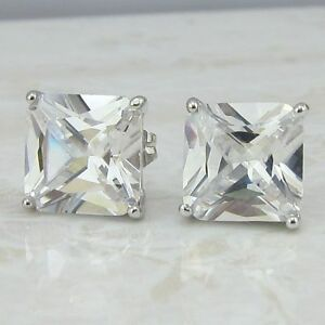 10*10mm clear nice white princess cut CZ gems gold filled stud earrings h953