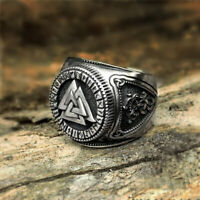 Mens Viking Stainless Steel Ring Runes Compass Adjustable Ring Nordic Jewelry