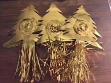 3 Vintage Gold Foil Christmas Garland Tree 9 Foot