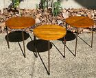 3 Vintage Mid Century MCM Stacking Tables End Side Conover McCobb Wood Iron