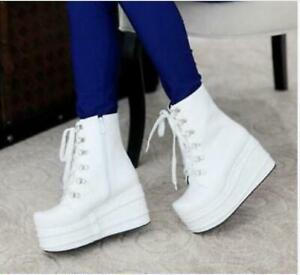 womens shoes Goth High platform wedge Punk Faux leather ankle boots lace up d66