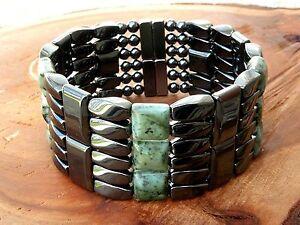 6 ROW Mens POWERHOUSE SERIES Magnetic Hematite African Turquoise Bracelet 6 row