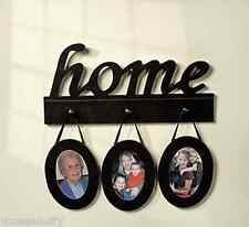 """Home"" Wood Wall Sign With Photo Frames Picture Holder Display Accent Decor Art"