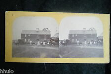 STB886 Ferme attelage voiture cheval groupe amateur stereoview photo STEREO