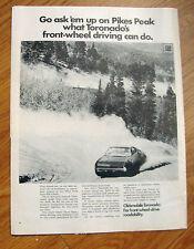 1969 Oldsmobile Olds Toronado Ad  Ask'em up on Pikes Peak