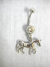 NEW 3D TENNESSEE WALKER FULL BODY HORSE EQUINE 14g CLEAR CZ BELLY BAR NAVEL RING