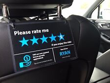 3 x Uber Lyft Tips + 5 Stars Rating Display Cards - Custom Made with your name